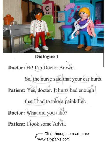 Everyday Dialogues, at the doctor, in the hospital, English speaking, English conversation, ESL, intonation patterns, sentence stress. http://www.allyparks.com/english-blog/everyday-dialogues-at-the-doctor
