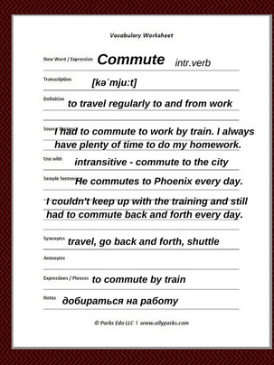 Commute means to go back and forth, to shuttle. Download free Vocabulary Worksheet. Define commute, commute meaning. ESL, English Worksheets, Vocabulary Worksheet, worksheet English, English words, learn English vocabulary, http://www.allyparks.com/english-blog/vocabulary-worksheets-commute