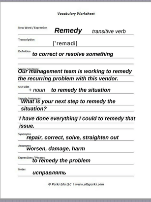 Download free Vocabulary Worksheet. http://www.allyparks.com/english-blog/vocabulary-how-to-learn-new-english-words-with-vocabulary-worksheets-remedy define Remedy, Remedy meaning, Remedy in a sentence, Vocabulary, esl, efl, English, Inglês, inglés, английский язык, ingles, английские
